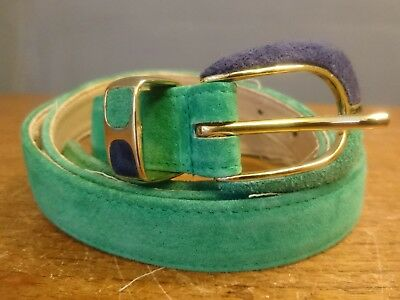 Vtg Retro 80s Womens Green Jacques Vert Belt Leather Suede Large Made UK 39-44""