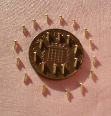 60  DOLLS HOUSE BRASS  NAILS ( 3mm/ - 1/8 long )