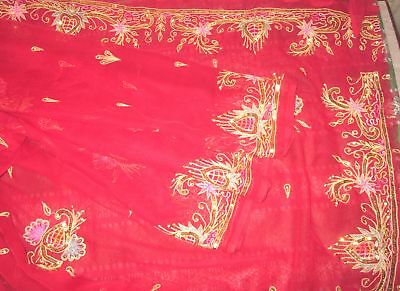 Antique Vintage Sari Saree EMBROIDERED OLD RARE 4Y  Z18 Red Sequins Zari #,AP8Y