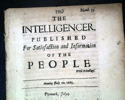 Very Rare Early INTELLIGENCER 17th Century 1665 England Newspaper GREAT PLAGUE