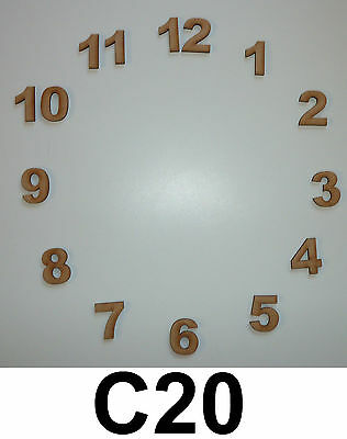 Set Of Wooden Mdf Clock Face Numbers, Blanks For Craft, Embellishments, Decorate