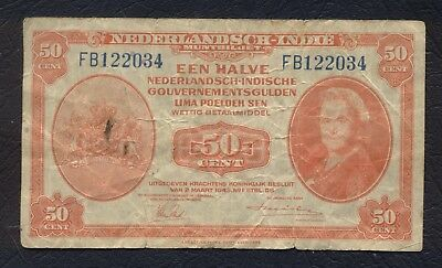 NETHERLANDS EAST INDIES INDONESIA fl1/2 GULDEN 50 Cents 1943 DUTCH EAST INDIES