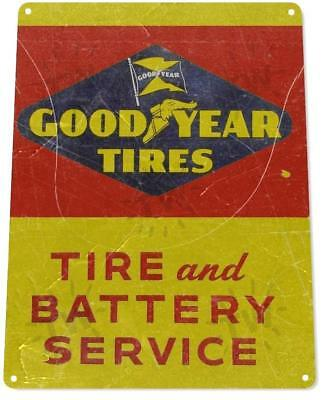 """Goodyear Tires Battery Service"" Oil Gas Service Auto Shop Garage Tin Sign"