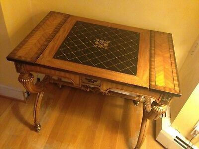 chess/checkers/backgammon wood table with metal chess pieces