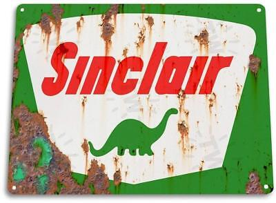 Sinclair Gas Rust Dino Oil Metal Station Garage Auto Shop Tin Metal Sign