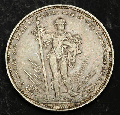 1879, Switzerland, Basel. Large Silver Shooting Thaler (5 Franken) Coin. About X