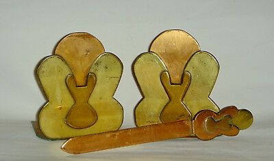 Arts & Crafts Copper & Brass Bookends & Matching Letter Opener
