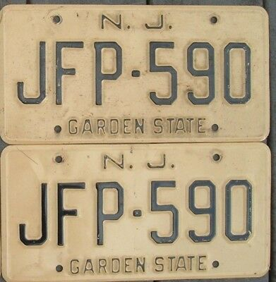Pair Vintage 1960s NEW JERSEY  License plates  JFP - 590