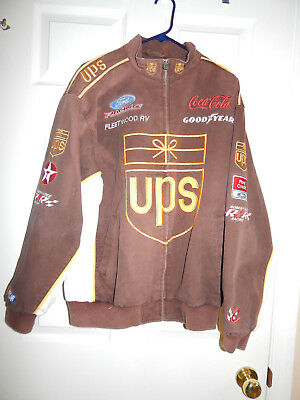 Chase Authentics Nascar UPS Racing Jacket Twill Sz M Embroidered