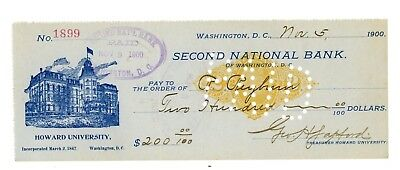 Rare 1900 Graphic Check from Howard University in Washington, DC