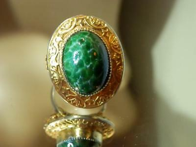 Vintage 60's Beautiful Peking Glass Ring Size 5 Very Pretty 139jl8    *See text*