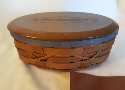 Longaberger 2008 Oval FOOTBALL KICKOFF Basket With Protector Wood Lid Blue Trim