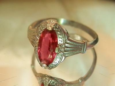 Vintage 40's Open Back Pink Crystal and Silver Tone Size 7 Ring  696ag8