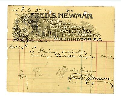 Rare 1898 Graphic Letterhead from Fred Newman, Painter in Washington, DC