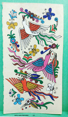 VINTAGE AMATE BARK PAPER PAINTING 6 x 3.50 INCHES COLOR on WHITE FROM MEXICO #21