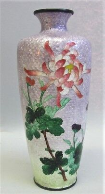 "Very Fine 6"" JAPANESE MEIJI-ERA Cloisonne Vase w/ Floral Design  c. 1880 antique"