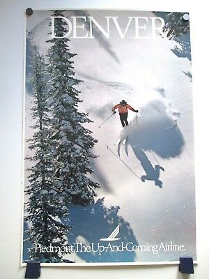 Vintage Piedmont Airlines Denver Skiing Travel Poster 1970's/80's Not Repro!