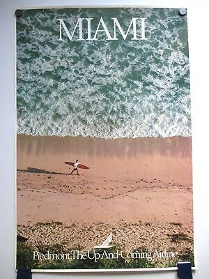 Vintage Piedmont Airlines Miami South Beach Travel Poster 1970's/80's Not Repro!