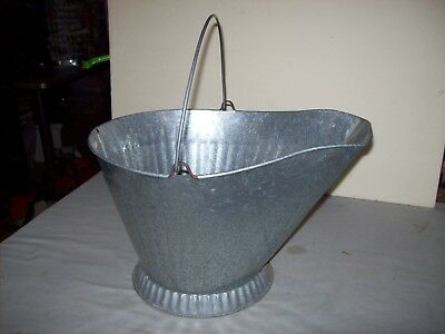 Vintage Galvanized Metal Coal Ash Bucket Pail  Made in Canada   VGUC