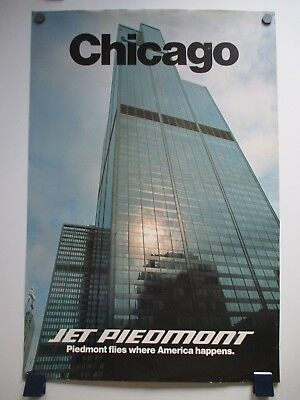 Vintage Piedmont Airlines Chicago Sears Tower Glossy Travel Poster 1970's