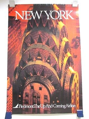 Vintage Piedmont Airlines Nyc Chrysler Bldg Travel Poster 1970's/80's Not Repro!