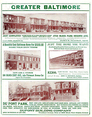 1909 Greater Baltimore, Maryland Color Real Estate Picture Advertisement