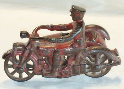 Vintage Cast Iron  Kilgore Toy Indian Police Motorcycle w/ Sidecar , 5 inch