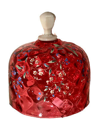 Antique Victorian Enamel Decorated Cranberry Glass Dome or Lid