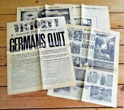 GERMANS QUIT - May 7, 1945 - STREATOR DAILY TIMES-PRESS - WWII newspaper IL