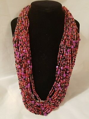 New Ghana Africa Multi-strand Pink Black Purple Beaded Necklace 12 inches