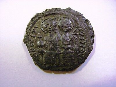 AE 32 JUSTIN II & SOPHIA Bronze FOLLIS of Constantinople 570-571 A.D., SHARP!!