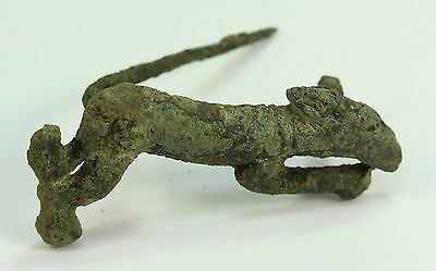 *AUTHENTIC II-I BC SCYTHIAN Bronze Running Dog Fibula Antiquity Clothing Pin DUG