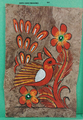 VINTAGE AMATE BARK PAPER PAINTING 5.50 x 3.75 INC COLOR on BROWN FROM MEXICO #31