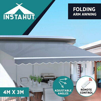 Instahut 3M x 2.5M Outdoor Folding Arm Awning Retractable Sunshade Canopy Grey