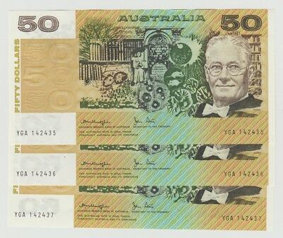 Australia $50 1979 Knight Stone Centrefold Uncirculated  3 Available Consecutive