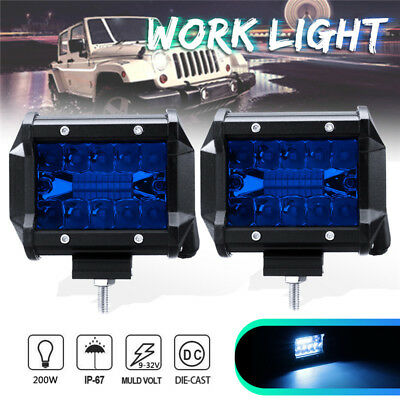 2X 4'' Inch LED Work Light Flood Spot Combo Driving Fog Lamp Off-road Truck Boat