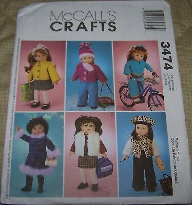 "McCALLS DOLL CLOTHING PATTERNS FOR 18"" DOLLS - GREAT PATTERNS!"