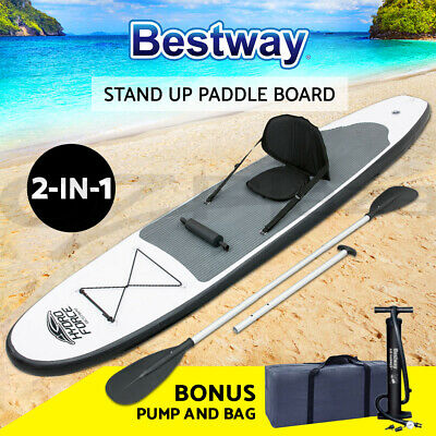 "Bestway 10'2"" 2 in 1 SUP Inflatable Stand Up Paddle Board Surfboard Kayak Pump"