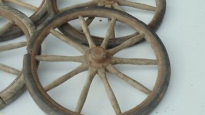 1920's set of 4 Wood Spoke Wheels  Wagon, cart, pedal car ... two sizes set