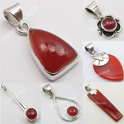 Choose Style ! 925 Sterling Silver Natural RED CARNELIAN Pendant FASHION Jewelry