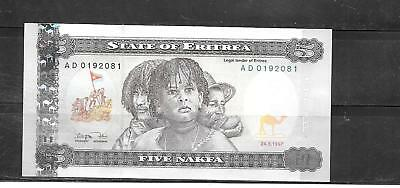 Eritrea #2 1997 Au-Unc 5 Nakfa Banknote Bill Currency Paper Money