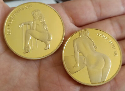 Gold GET YOUR PANTS OFF Sexy Cowgirl BATHE WITH ME Coin Man gift Collection Coin