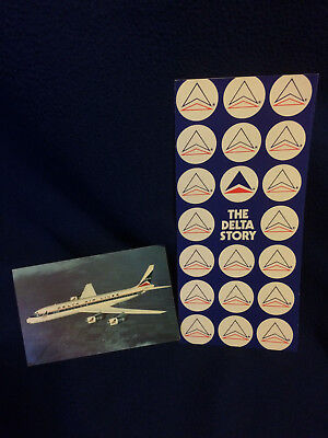 """Delta Air Lines """"The Delta Story"""" brochure and DC-8 postcard 1973"""