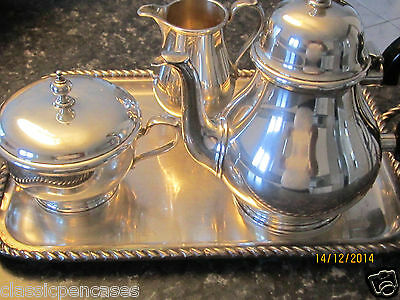 """Tiffany & Co Hallmarked  Three Pieces """"Queen Anne"""" Sterling Silver Tea Set &Tray"""