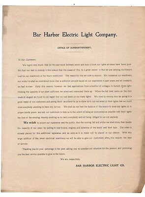 Early 1900 Notice from Bar Harbor Electric Light Co Maine on Poor Service