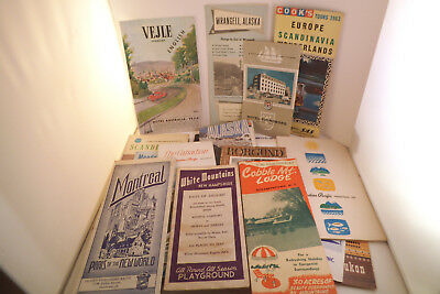 Vintage Mixed Lot of Brochures Travel Guides Maps Alaska Denmark Canada Pacific