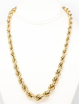 14K Yellow Gold Braided Rope Chain Necklace