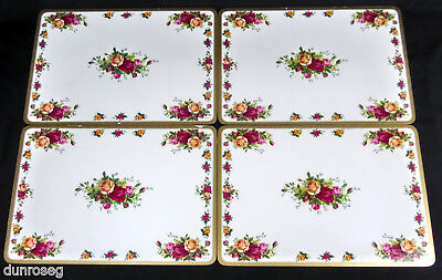 "4 OLD COUNTRY ROSES VERY LARGE TABLE MATS, 43cm x 29cm, 17 x 11.5"" ROYAL ALBERT"
