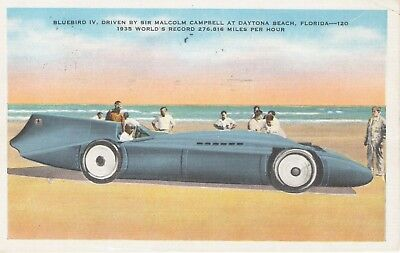 1936 Bluebird Racing Car & Post Card With A 1¢ Frankin United States Stamp