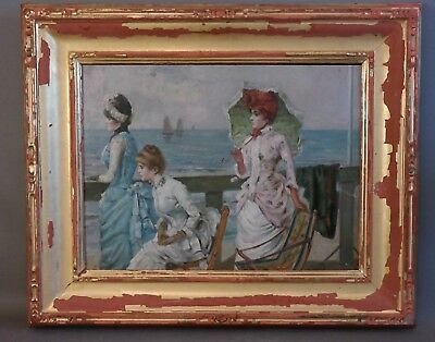 Antique FRENCH LADY On OCEAN LINER Old STEAM SHIP Titanic OIL SEASCAPE PAINTING